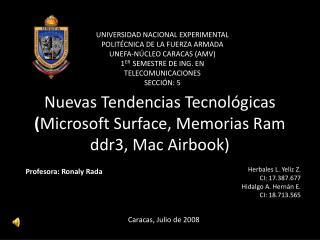Nuevas Tendencias Tecnológicas  ( Microsoft  Surface, M emorias Ram  ddr3, Mac  Airbook )