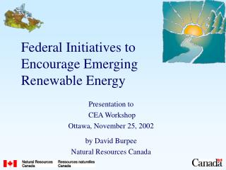 Federal Initiatives to Encourage Emerging Renewable Energy