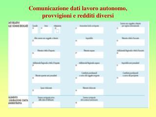 Comunicazione dati lavoro autonomo, provvigioni e redditi diversi