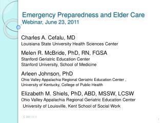 Emergency Preparedness and Elder Care Webinar, June 23, 2011
