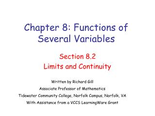 Chapter 8: Functions of Several Variables