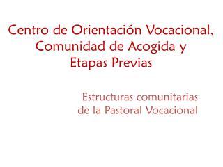 Centro de Orientación Vocacional, Comunidad de Acogida y  Etapas Previas