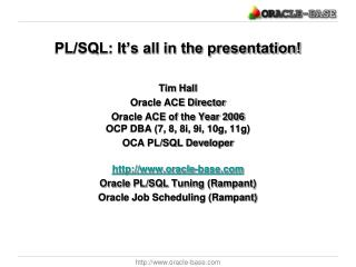 PL/SQL: It's all in the presentation!