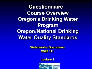 Waterworks Operations WQT 111 Lecture 1