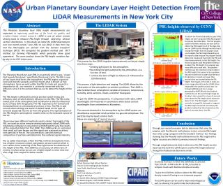 Urban Planetary Boundary Layer Height Detection From LIDAR Measurements in New York City