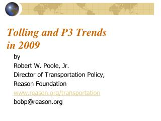 Tolling and P3 Trends  in 2009