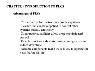 Advantages of PLCs