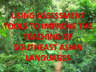 USING ASSESSMENT TOOLS TO IMPROVE THE TEACHING OF SOUTHEAST ASIAN LANGUAGES