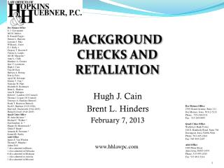 BACKGROUND CHECKS AND RETALIATION
