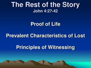 The Rest of the Story John 4:27-42