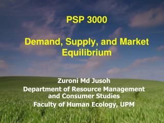 PSP 3000 Demand, Supply, and Market Equilibrium