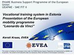 PHARE Business Support Programme of the European Union UEAPME - SME FIT II