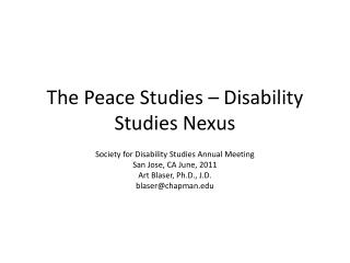 The Peace Studies � Disability Studies Nexus