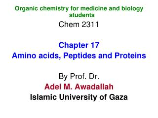 Organic chemistry for medicine and biology students Chem 2311 Chapter 17