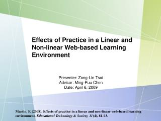 Effects of Practice in a Linear and Non-linear Web-based Learning Environment