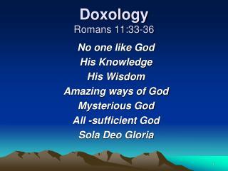 Doxology Romans 11:33-36