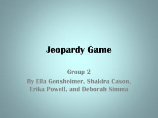 Jeopardy Game