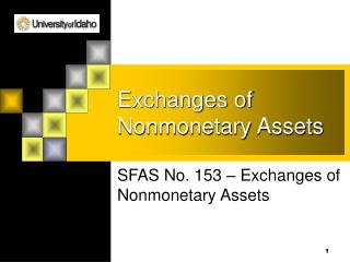 Exchanges of Nonmonetary Assets