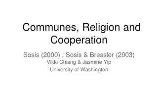 Communes, Religion and Cooperation