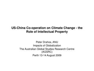US-China Co-operation on Climate Change - the Role of Intellectual Property