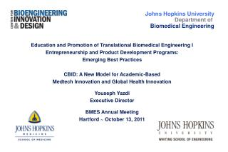 Education and Promotion of Translational Biomedical Engineering I