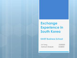 Exchange  Experience in South Korea KAIST Business School