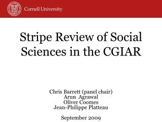 Stripe Review of Social Sciences in the CGIAR