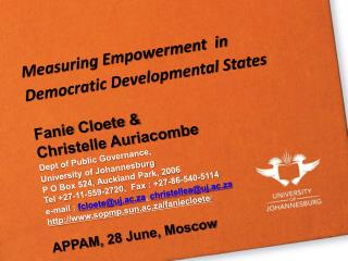 Measuring  Empowerment  in Democratic Developmental  States