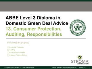 Consumer Protection Auditing GDAS Responsibilities Assessor Responsibilities