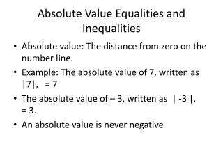 Absolute Value Equalities and Inequalities