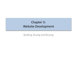 Chapter 5: Website  Development