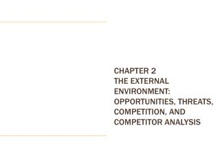CHAPTER 2 The External Environment: Opportunities, Threats, Competition, and Competitor Analysis