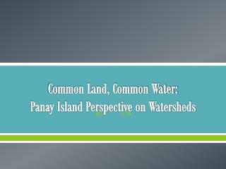 Common Land, Common Water:  Panay Island Perspective on Watersheds