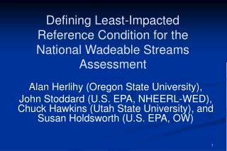 Defining Least-Impacted Reference Condition for the National Wadeable Streams Assessment