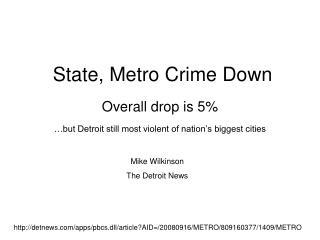State, Metro Crime Down