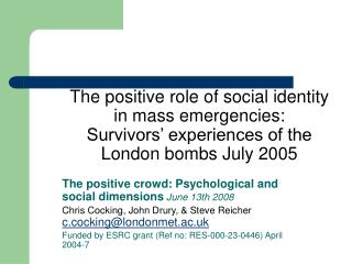 The positive crowd: Psychological and social dimensions  June 13th 2008