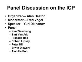 Panel Discussion on the ICP