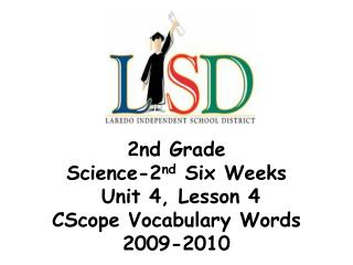2nd Grade Science-2 nd  Six Weeks  Unit 4, Lesson 4  CScope Vocabulary Words 2009-2010