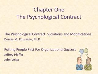 Chapter One The Psychological Contract