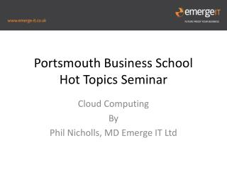 Portsmouth Business School  Hot Topics Seminar