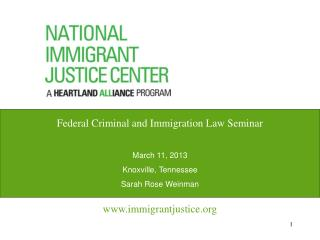 Federal Criminal and Immigration Law Seminar