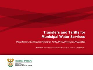 Transfers and Tariffs for  Municipal Water Services