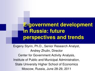 E-government development in Russia: future perspectives and trends