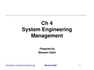 Ch 4 System Engineering Management