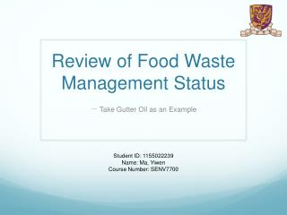 Review of F ood  W aste  M anagement  S tatus