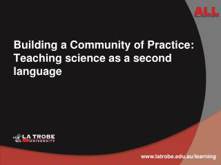 Building a Community of Practice: Teaching science as a second language