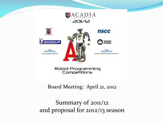 Board Meeting:   April 21, 2012 Summary of  2011/12 and proposal for  2012/13  season