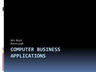 Computer Business Applications