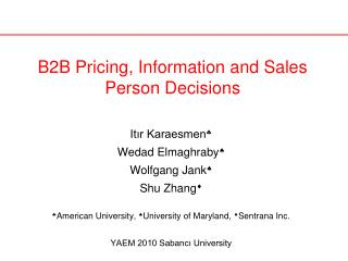 B2B Pricing, Information and Sales Person Decisions