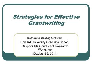 Strategies for Effective Grantwriting